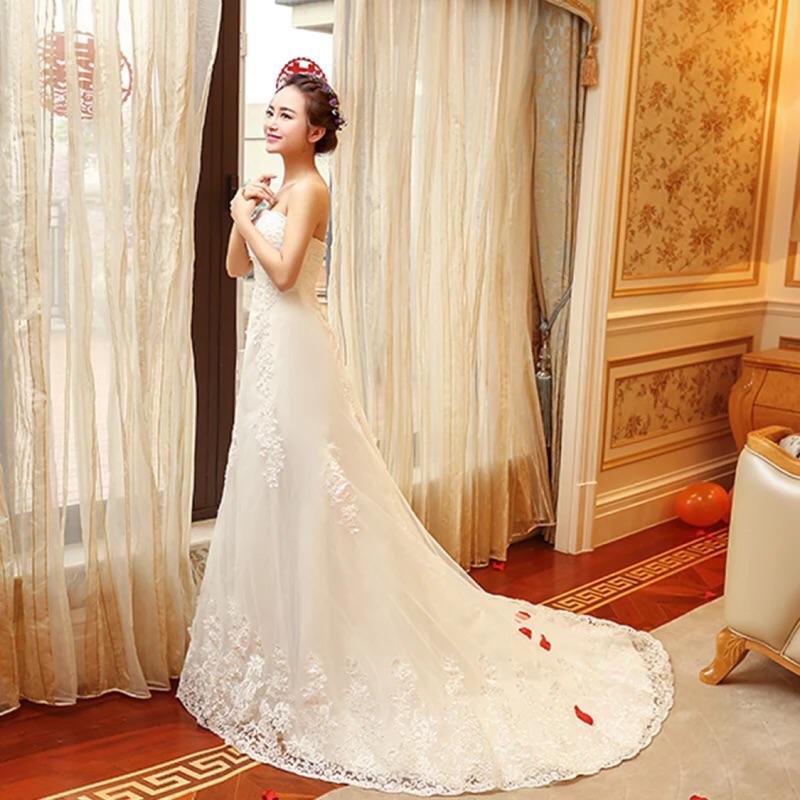 Aline 平口蕾絲顯瘦小拖尾婚紗禮服白紗