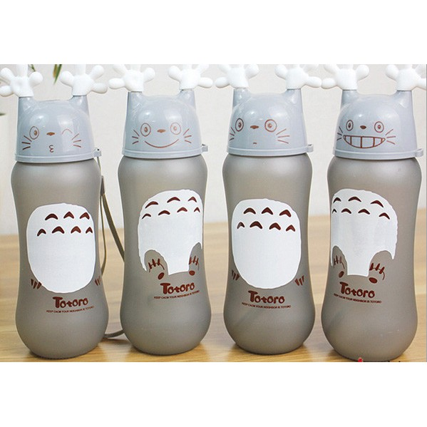 便攜卡通龍貓玻璃水杯可愛水瓶 手提隨身杯矽膠底座 杯子