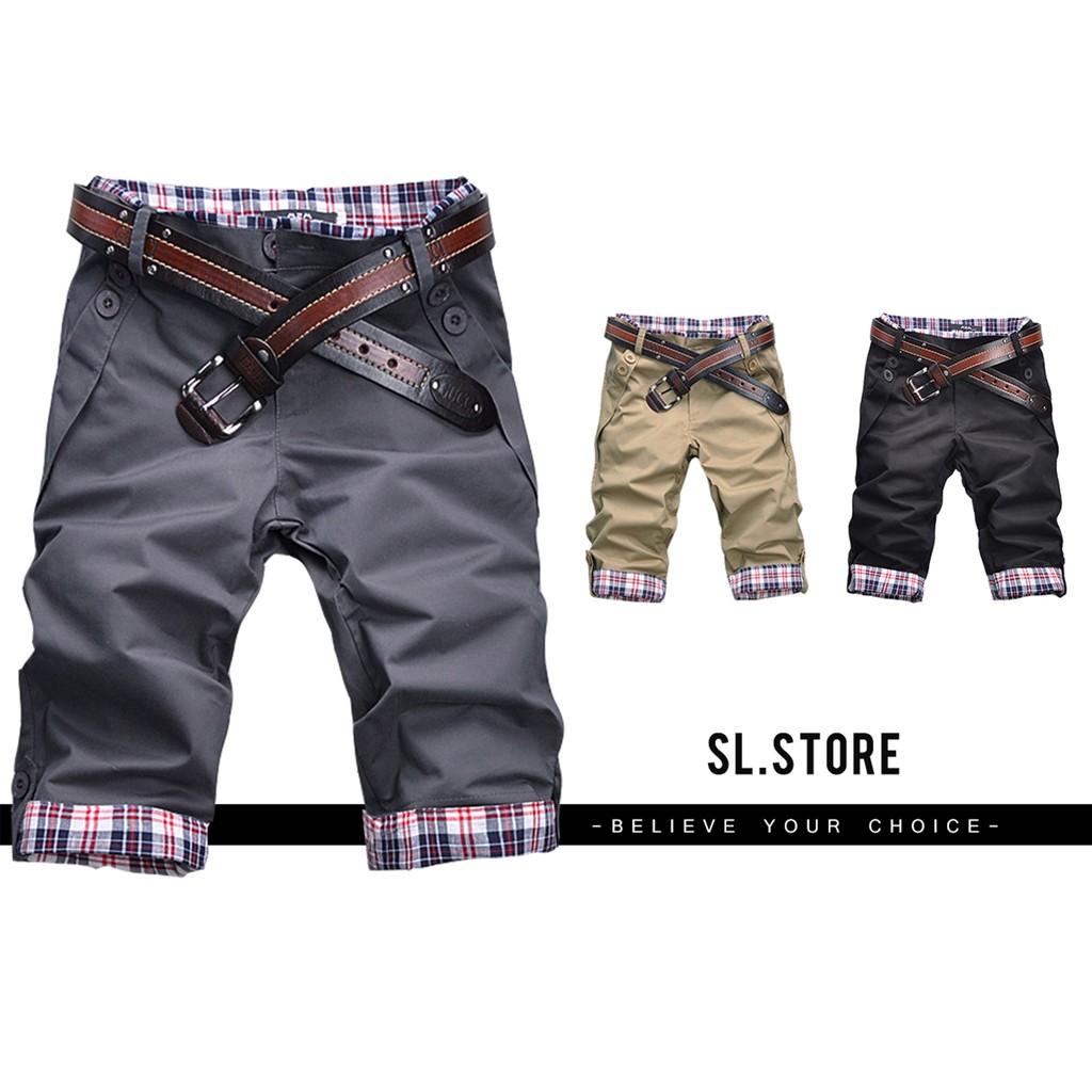 SL Store ~AW006 ~ 格紋反折 ‧百搭實穿五分修身短褲‧黑卡其鐵灰M L X