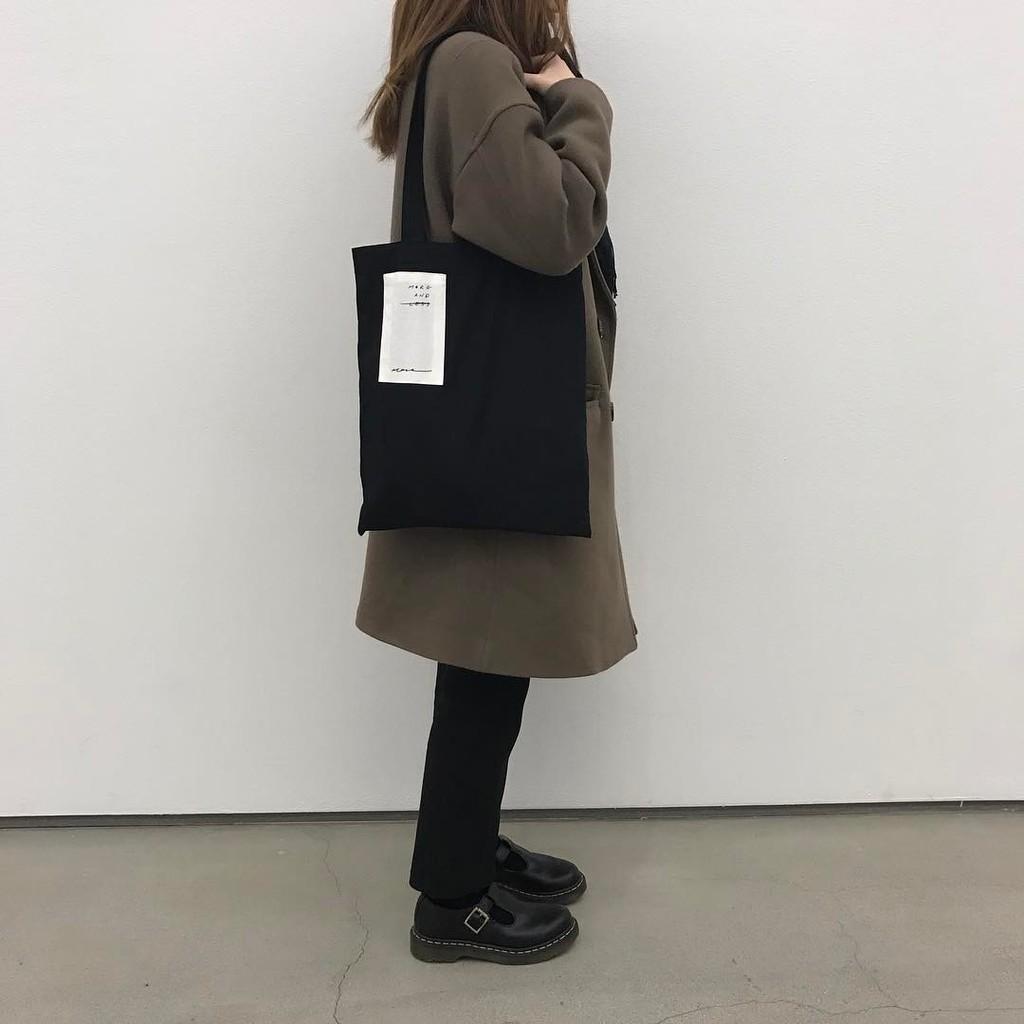 英文貼布韓國學院風百搭字母帆布包單肩包休閒環保 袋小花帆布包A185