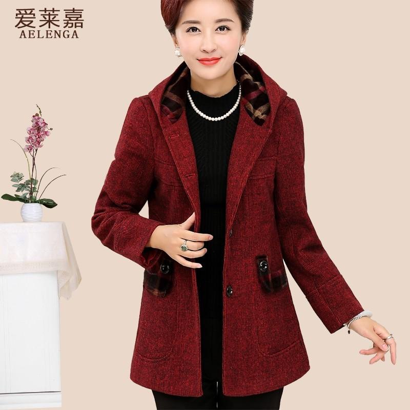 中老年女裝秋裝中年媽媽裝上衣中長款40 50 歲毛呢外套風衣