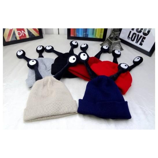~灰熊Q ~Q85  兒童觸角可爱寶寶昆蟲帽保暖卡通帽超萌針織毛線帽子 保暖帽毛帽毛線帽絲