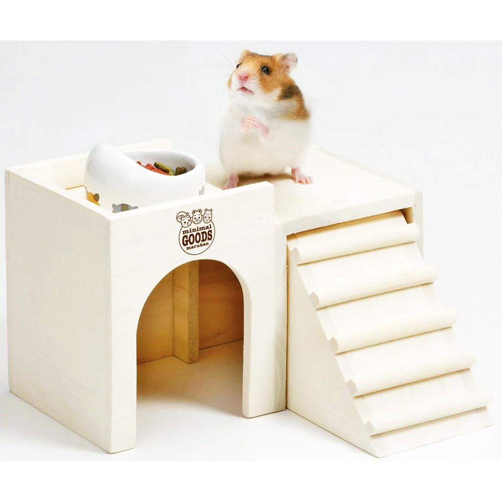 ~ ~Marukan 馬卡HT 34 HT 35  鼠鼠城堡餐廳原木風格倉鼠黃金鼠食盆需另