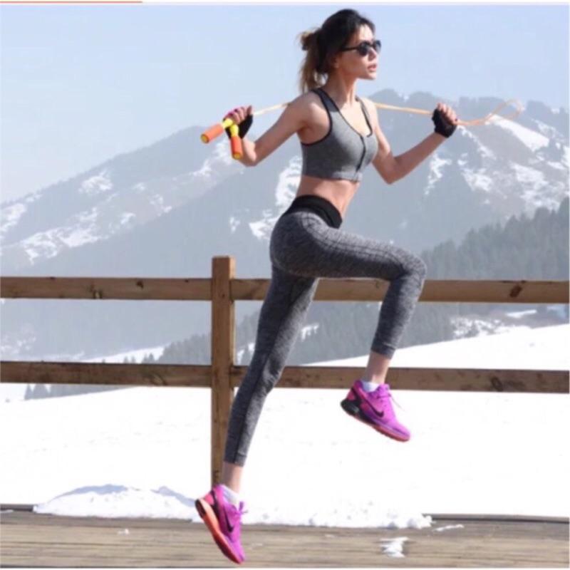 超好女孩高彈力特殊剪裁壓紋修身顯瘦高腰九分壓力褲 健身慢跑瑜珈
