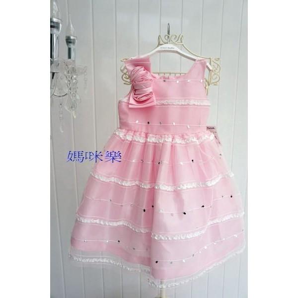 媽咪樂歐單亮片立體玫瑰花白色粉紅背心蓬蓬紗裙表演禮服婚禮花童4t 5t 7t 8t