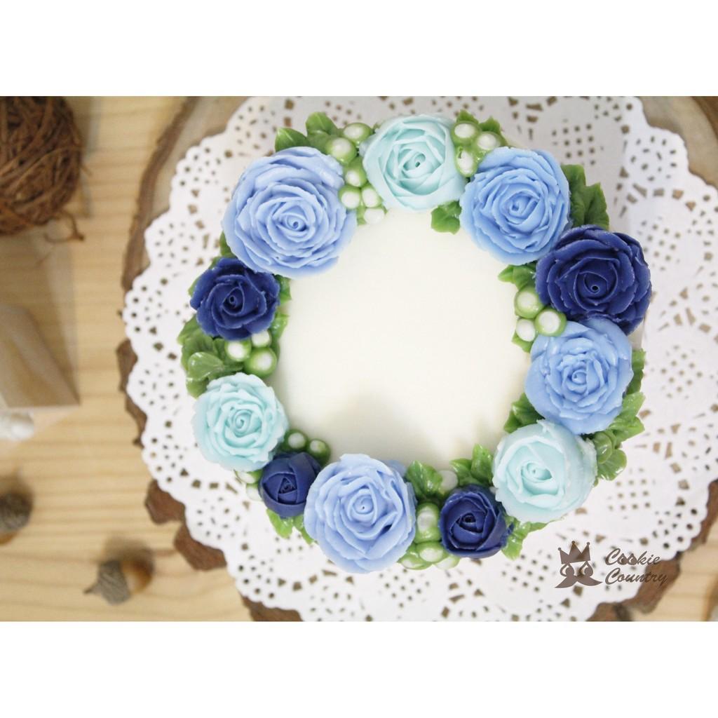Cookie Country 韓式擠花玫瑰花蛋糕母親節蛋糕客製化蛋糕婚禮蛋糕藍天使花圈蛋糕