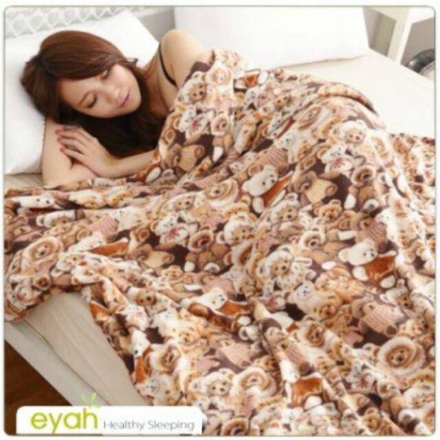 eyah ~熊熊樂園~珍珠搖粒絨多用途雙人被套毯懶人毯