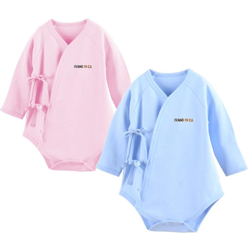 四季可穿100 精梳純棉初生嬰兒長袖側開新生兒綁帶包屁衣袖口反折66 碼73 碼