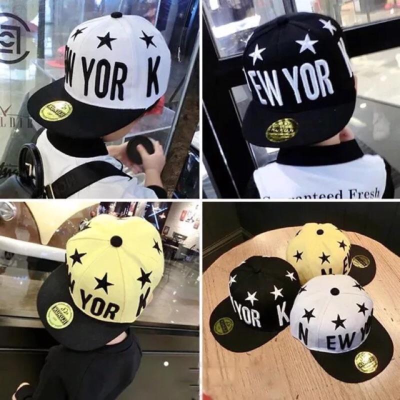 春夏款NEW YORK 潮寶寶嘻哈帽兒童平沿帽棒球帽男童女孩帽子兒童帽帽子棒球帽童帽