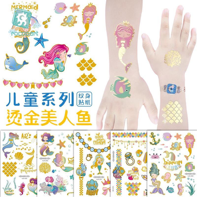 防水新款燙金美人魚紋身貼 可愛卡通兒童紋身貼紙
