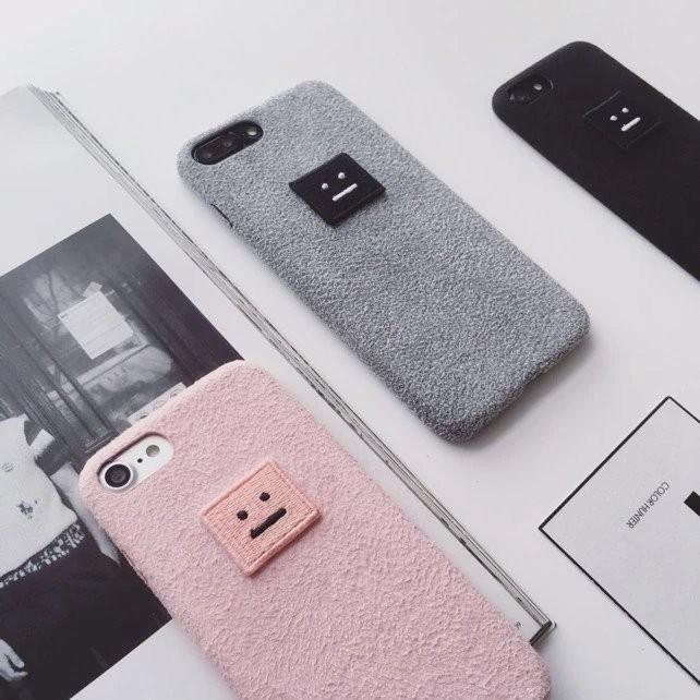 韓國簡約刺繡笑臉iPhone7 plus 手機殼蘋果6 6s 絨布保護套情侶軟殼