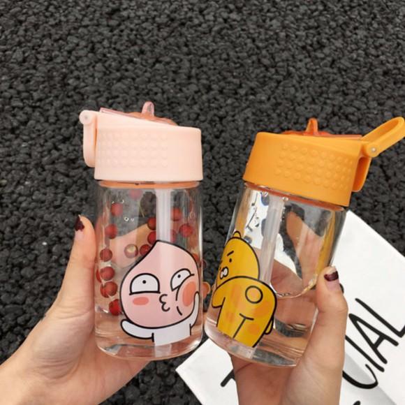 當天出貨韓國ulzzang 卡通ryan 萌屁桃君水壺玻璃杯Ryam 水杯隨手杯便攜帶吸管