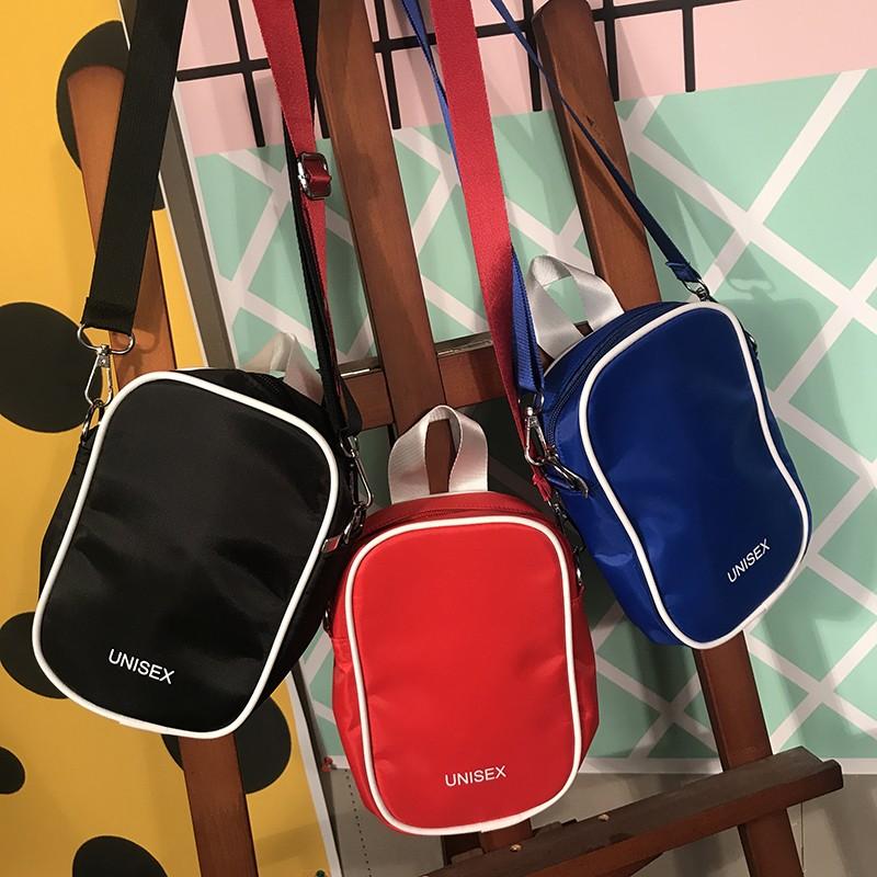 韓國簡約百搭英文字母素面方包單肩側背斜背小包包中性款三色拍照道具穿搭 v shop