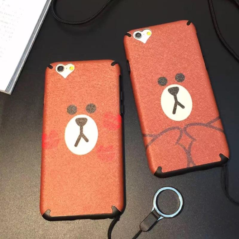 024 可愛卡通情侶手機殼蘋果保護套卡通蠶絲布朗熊iPhone6s 手機殼蘋果6plus