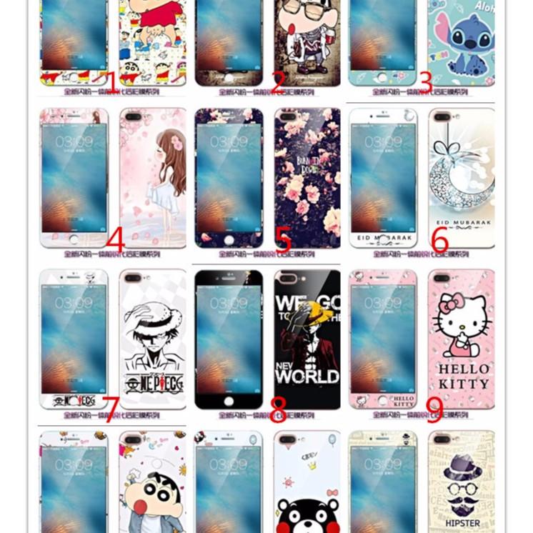 滿版彩繪卡通熒幕貼iPhone 7 6 6S plus 保護膜9H 前後貼蘋果熊本熊蠟筆小
