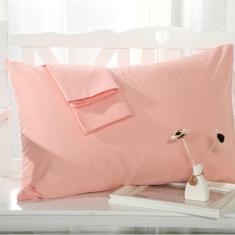 純棉學生枕頭套簡約純色信封式單人枕套一對