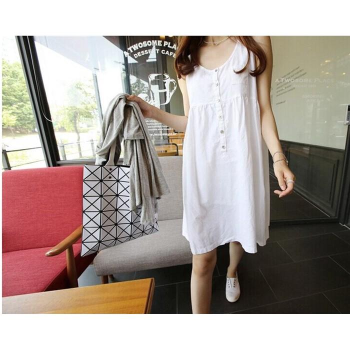 M 3XL 純色無袖棉麻洋裝大 無袖洋裝孕婦裝媽媽裝棉麻上衣背心洋裝