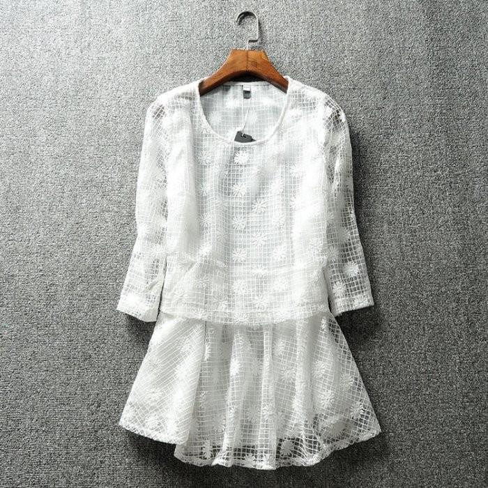 純白色假二件式雪花格子七分袖透膚上衣小洋裝裙子歐根紗長版上衣甜美清新 百搭
