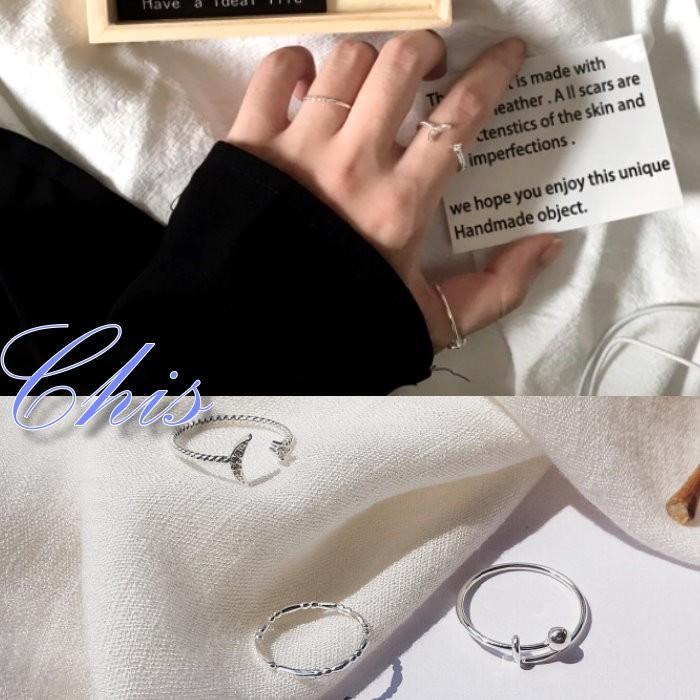 Chis Store ~細緻月亮幾何開口戒指三件組~韓國簡約極簡風格小鑽鑲鑽水鑽麻花圓珠結