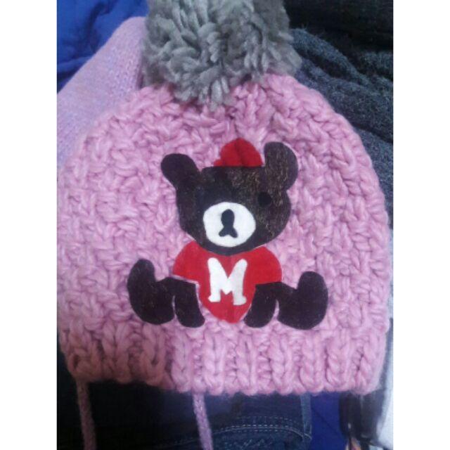 ~ ~可愛小熊毛帽小熊毛線帽動物圖案帽子粉紅色毛帽動物圖案毛帽可愛毛帽針織帽咖啡熊聖誕熊趴