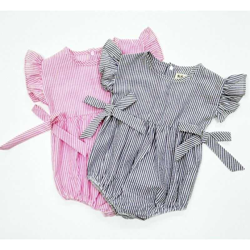 曈曈Baby 外貿INS 爆款 新品全棉麻皺紋布寶寶三角爬服連體哈衣