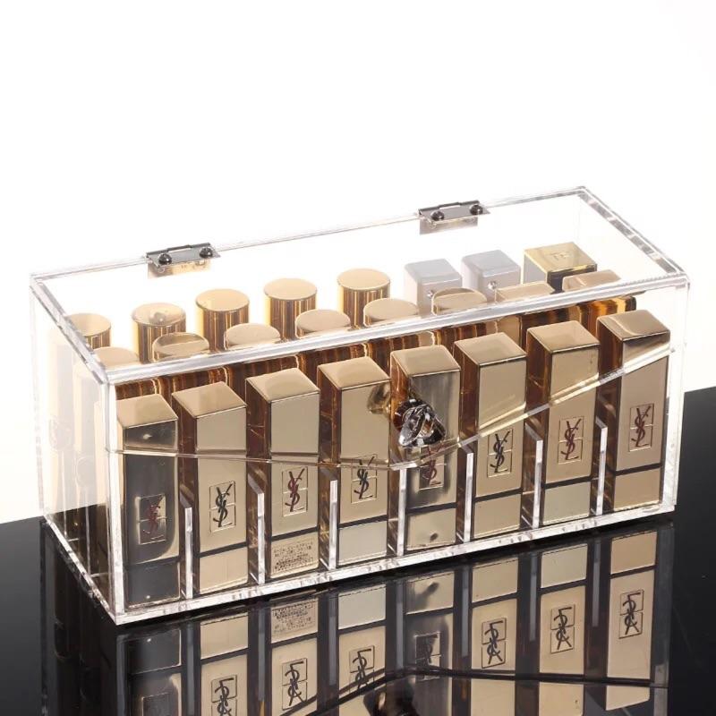 防塵口紅收納盒透明壓克力化妝盒唇膏指甲油整理盒翻蓋