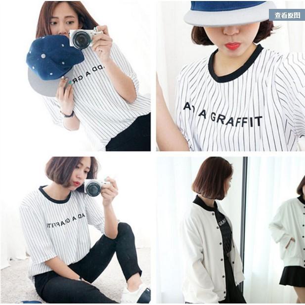 短袖白色T 恤女夏裝豎條紋字母印花百搭女學生棒球風