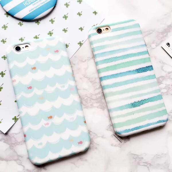 韓國小清新簡約淡雅綠色波浪線條條紋磨砂全包軟殼手機殼保護殼兩款