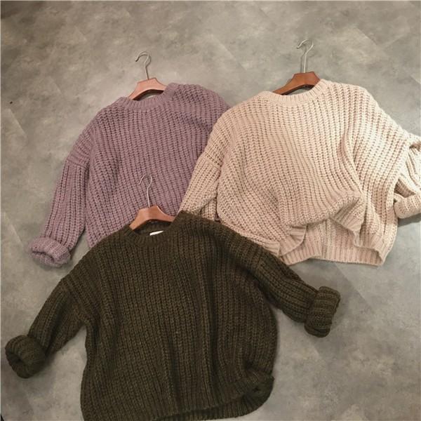 現預 純色毛衣女寬鬆長袖針織衫上衣 毛衣慵懶風百搭修身女上衣三色