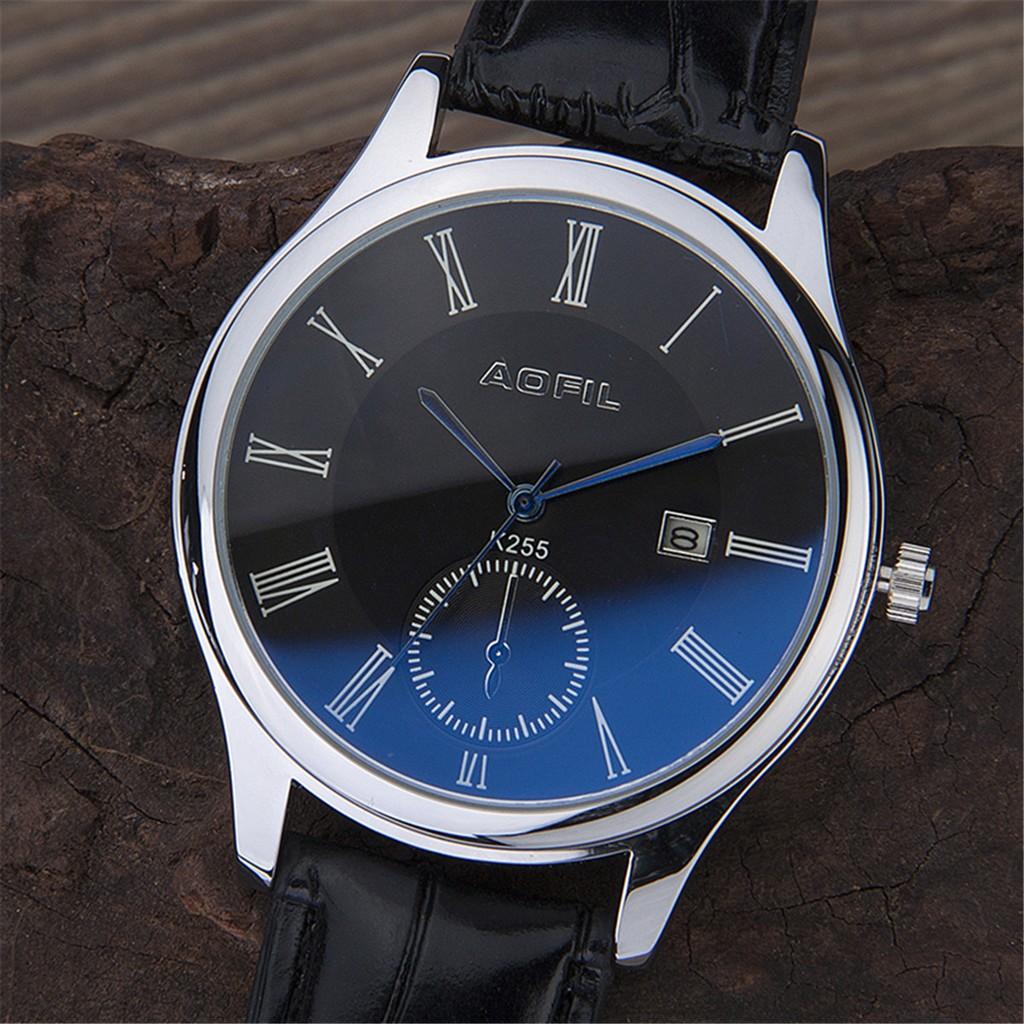~悅然居~正品藍光玻璃男士手表包郵防水真皮帶男表日歷學生手表機械石英表