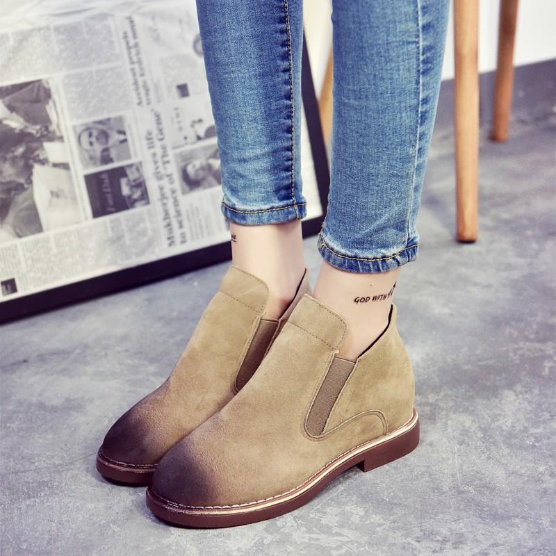 智慧baby 秋粗跟短靴女平底馬丁靴磨砂皮及裸靴擦色簡約女靴子靴子裸靴短靴長靴雨靴雪靴過膝