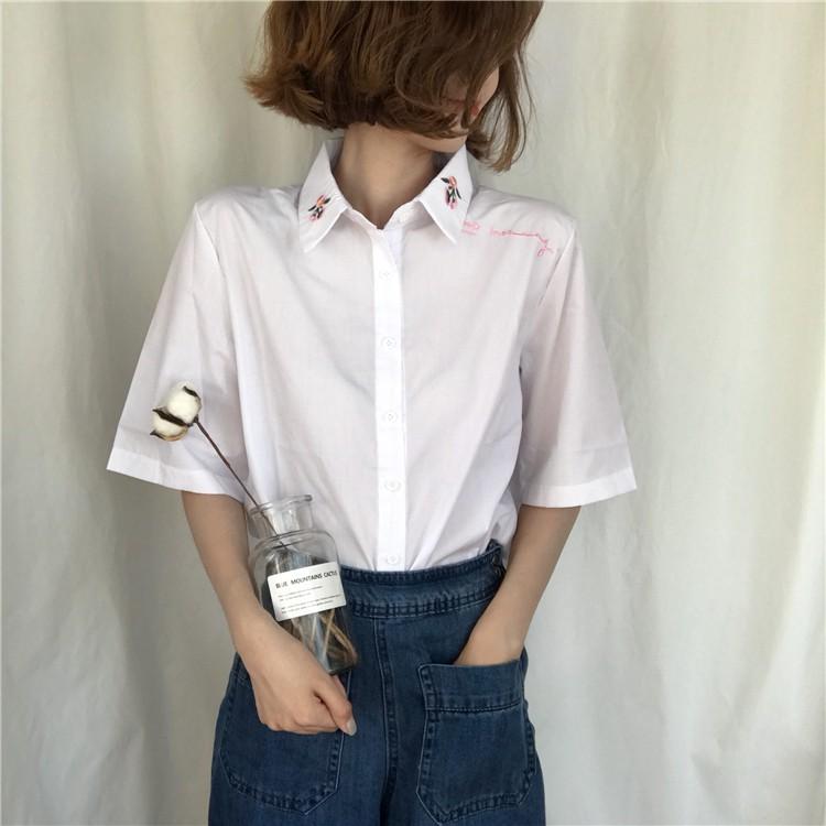 純色白色花朵刺繡短袖襯衫 寬鬆百搭顯瘦短袖上衣女式襯衣