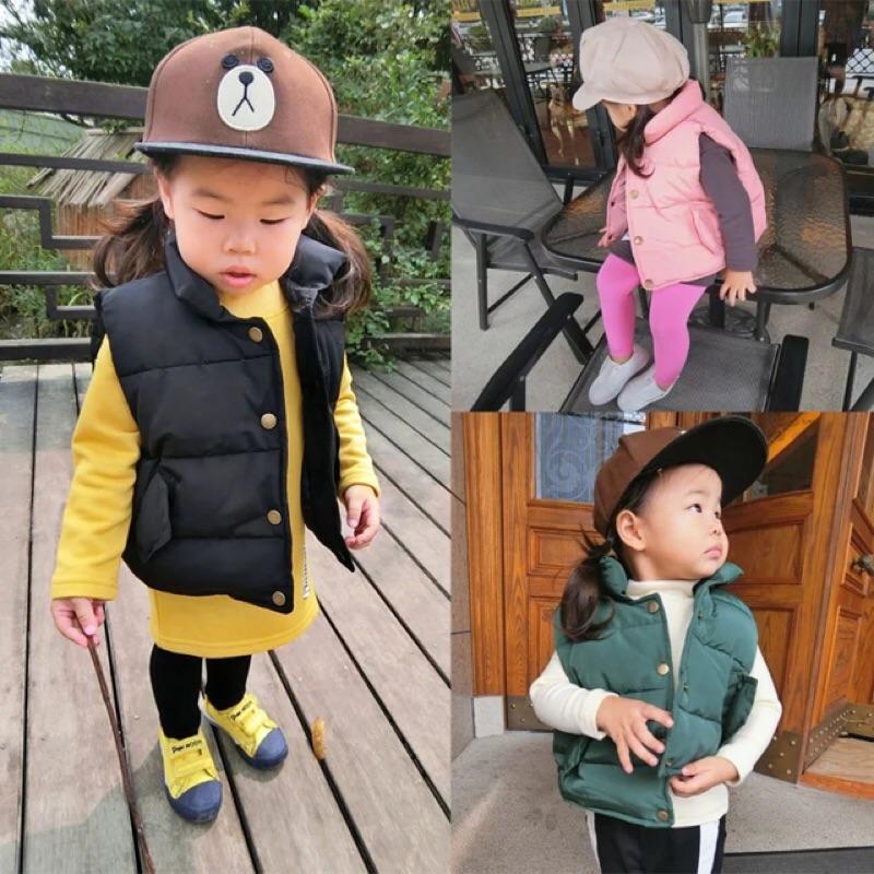 女童男童兒童小童寶寶素面口袋無袖立領外套背心馬甲鋪棉