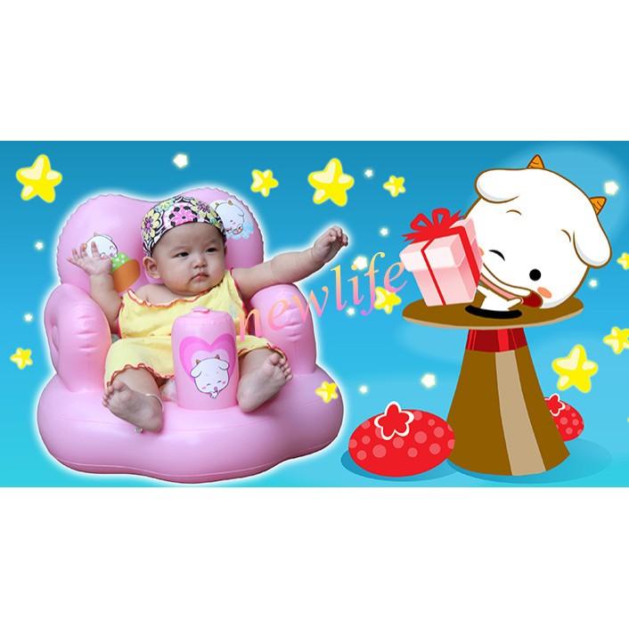 ~ 中~寶寶充氣沙發嬰兒加厚多 學坐椅餐椅便攜式安全靠背浴凳座椅墊