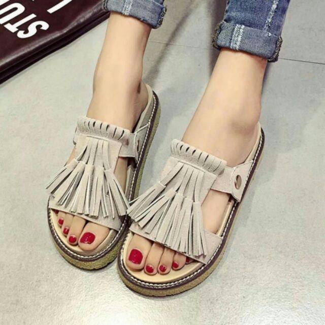 拖鞋女夏2016  流蘇厚底平底涼拖磨砂舒適中跟外穿一字拖鞋