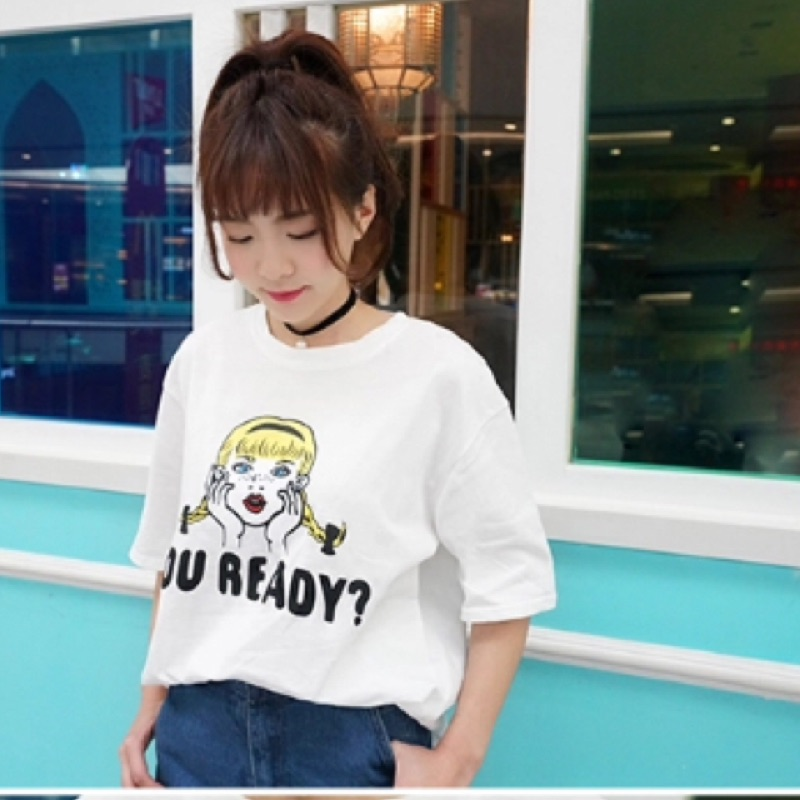 寬鬆簡約印花短袖T 恤韓國百搭休閒上衣打底衫女學生