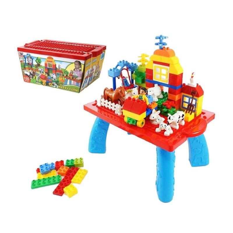 歡樂農場益智積木含桌腳4 學習積木桌