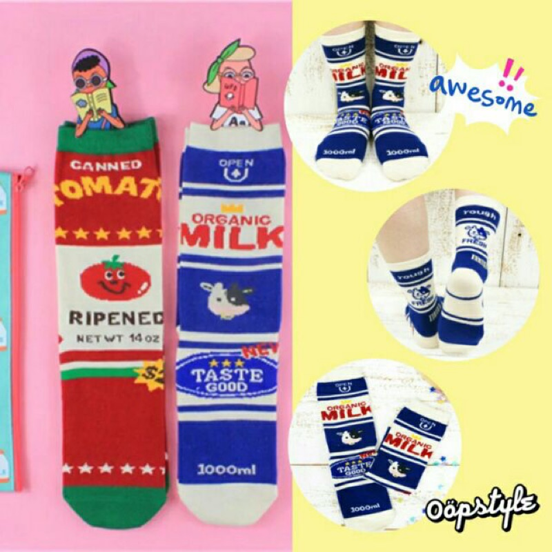 0 öpstyle 全店 買③贈① 日系原宿可愛女孩俏皮番茄牛奶襪牛奶瓶食玩俏皮