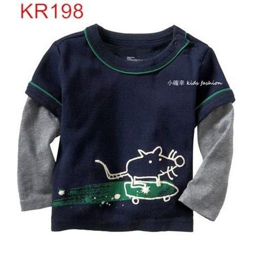 小確幸衣童館KR198 款藏藍色接袖假兩件溜滑板老鼠可愛圖T 長袖純棉