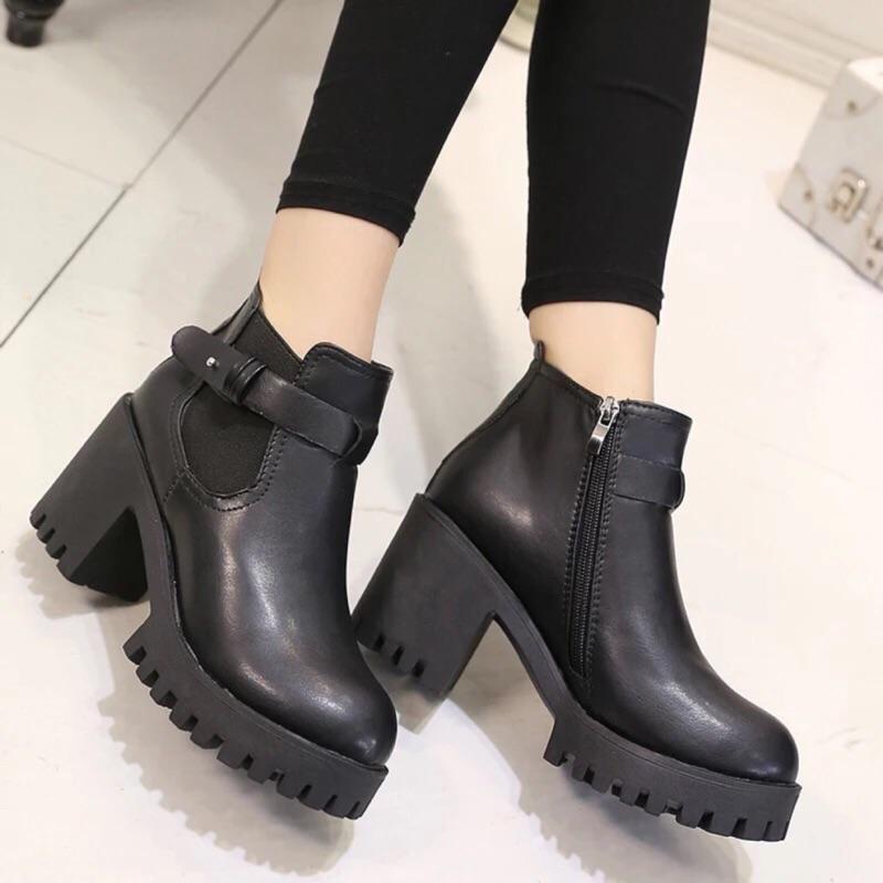 粗跟防水台圓頭英倫風短靴女 馬丁靴復古高跟
