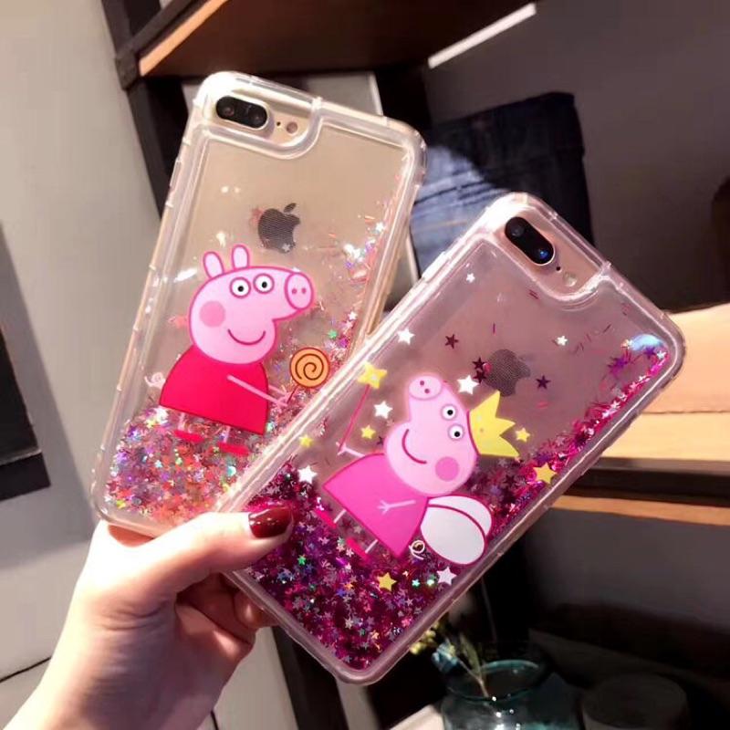 佩佩豬粉紅豬小妹閃粉星星流沙全包軟邊殼iphone 手機殼2 款