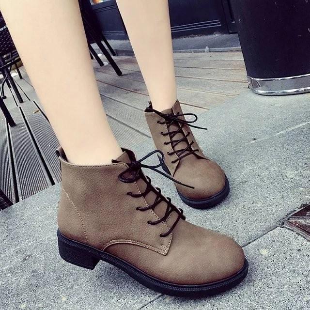 馬丁靴子女英倫風短靴女春秋單靴粗跟皮靴系帶女靴及裸靴 女鞋