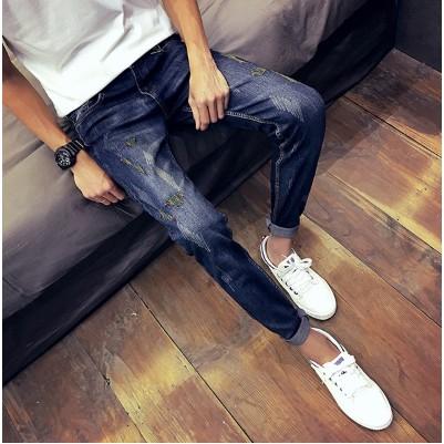 破洞牛仔褲男士日系復古修身型小腳褲子潮青年顯瘦乞丐褲長褲