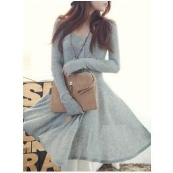 女士灰色混紡圓領長袖不對稱長款連衣裙