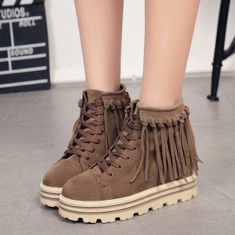 ▷韓風▽時代◁女鞋短靴女新品 復古厚底流蘇靴松糕裸靴系帶裸靴女靴子女鞋