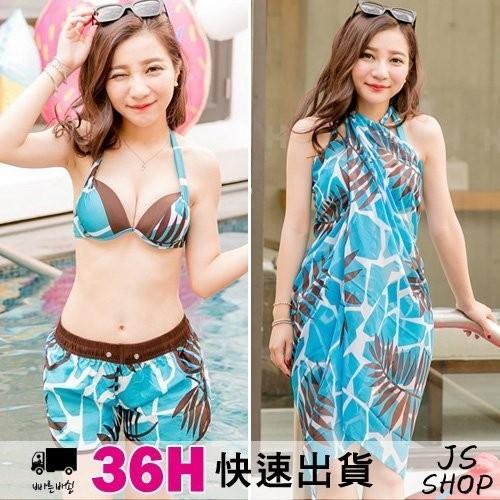 JS SHOP ~活力夏威夷F009 ~爆乳鋼圈BIKINI 韓國情侶泳裝春吶泳衣泡湯比基