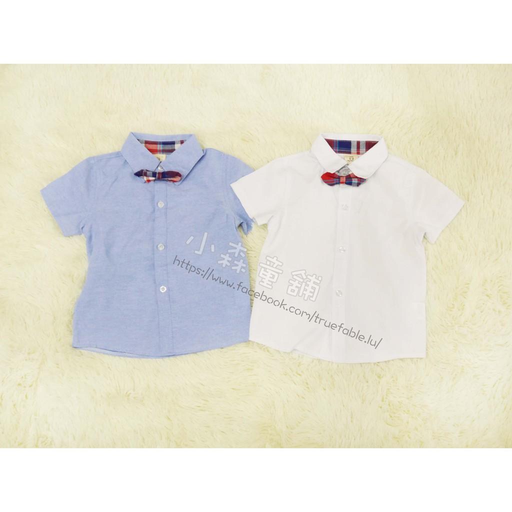 小森童舖春夏男童韓系素面款紳士紅格小領結 薄款白色短袖上衣襯衫5 7 9 11 13 15