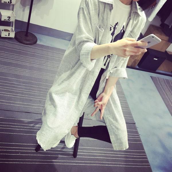 糖果小舖_  ~PS Mall 小口袋棉麻寬鬆長袖襯衫上衣長版襯衫