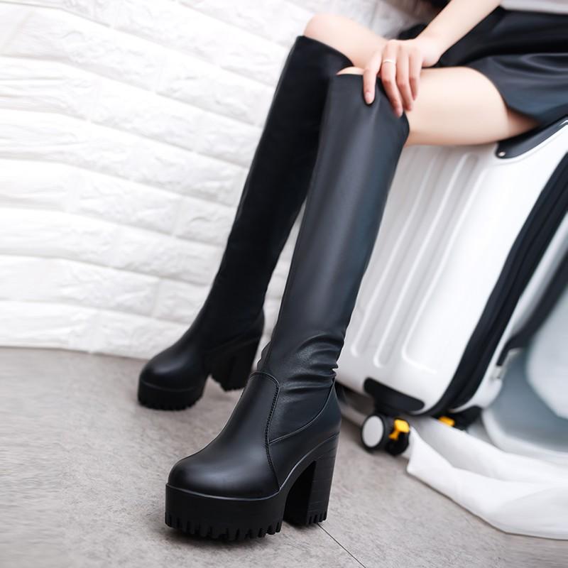 正韓丶過膝靴靴子女2016 女鞋 性感黑色長筒靴英倫風女士高跟鞋百搭粗跟女靴
