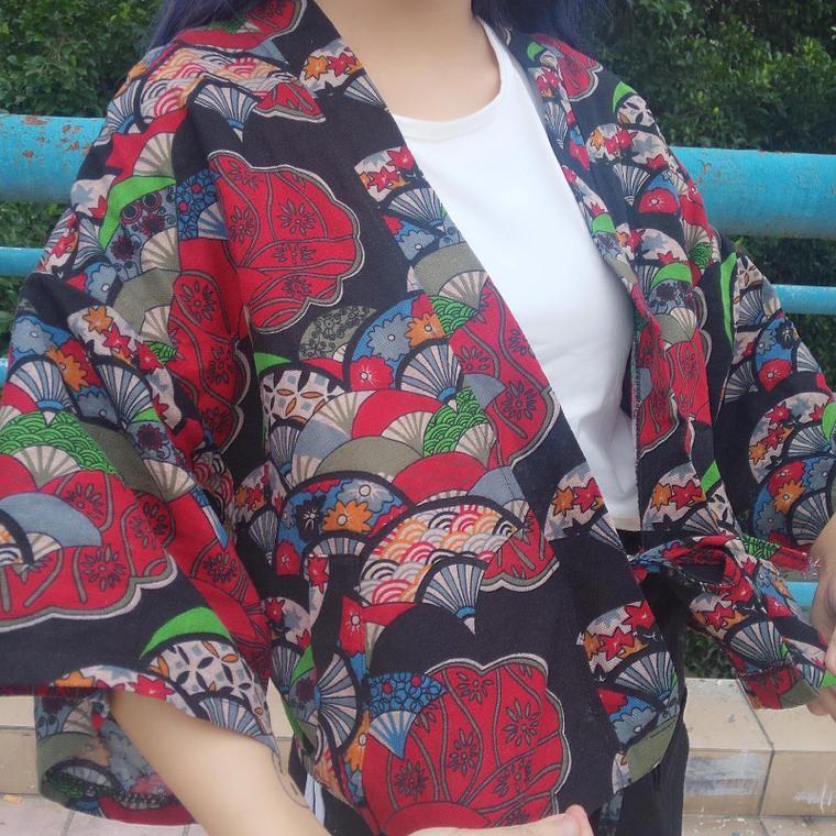 朵莉衣櫥韓國 印花短款百搭合服碎花外罩外套罩衫5 分袖
